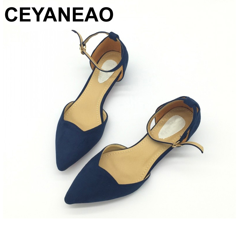 CEYANEAO  Sexy Women Buckle Strap Low Heels Pumps Pointed Toe Flock D'Orsay Heels Shoes For Woman Ladies Single Shoes Blue