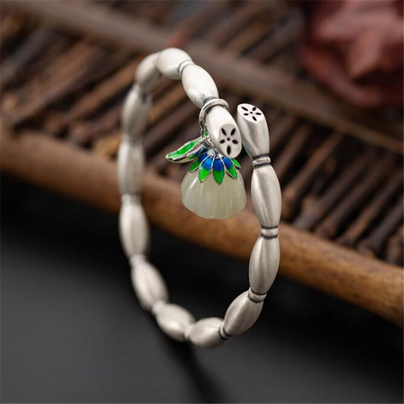 Jsmpfy New Ethnic Jewelry Jade Bracelet 999 Pure Silver Handmade Flower Roots Shape Adjustable Bracelets For Women traditional ethnic flower design linen square shape pillowcase