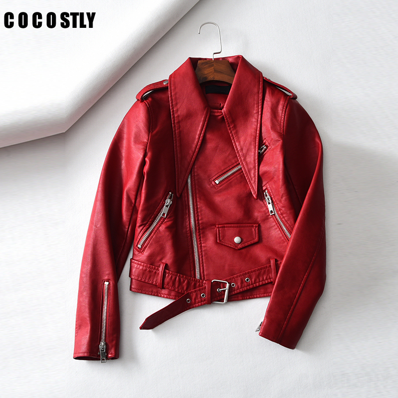 Pu Leahter Jacket Women Fashion Red Black Motorcycle   Leather   Top Short Style Faux Leahter Biker Jacket chaqueta mujer