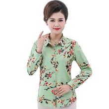 купить Women Elegant Floral Shirts Red Green Blue Flower Print Top Woman Casual Long Sleeve Turn Down Collar Blouse Female Leisure Tops дешево
