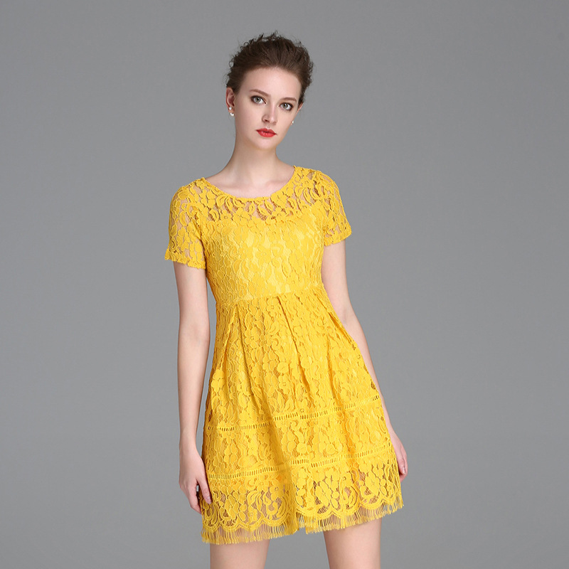 New Simple Yellow Lace   Cocktail     Dresses   2019 Short Sleeve Mini Elegant A-Line Lady Formal Prom Party Gown Women   Dress