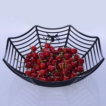 New Plastic Spider Web Fruits Basket Halloween For Party Decor
