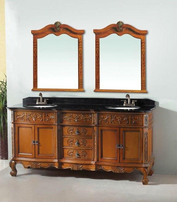 Lovely Luxury Vanity Cabinet Double Sinks Bath Vanity Antique Bathroom Furniture  0281