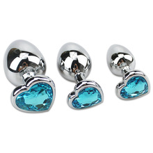 Runyu S M L Size Blue Heart shaped Woman Vaginal Erotic Stainless Steel Butt Plug Sex