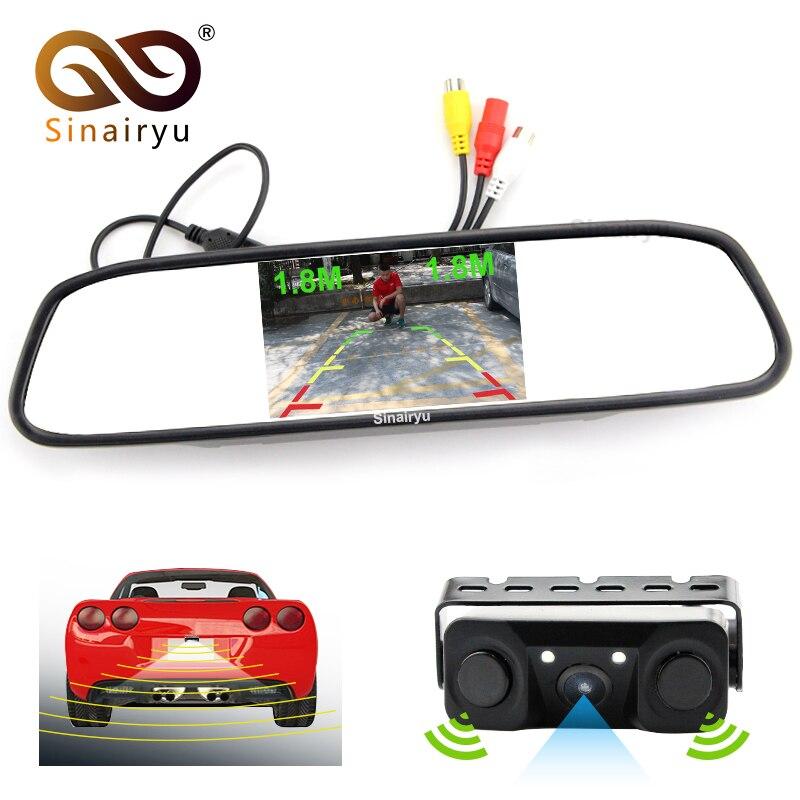 Sinairyu HD 800*480 moniteur de voiture de 5 pouces moniteur de recul de stationnement automatique avec capteur de stationnement vidéo automatique avec caméra de recul