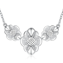 JEXXI Vogue Russia Europe Stylish Woman Necklace 925 Sterling Silver Flower Design Chokers Necklace Wedding Engagement