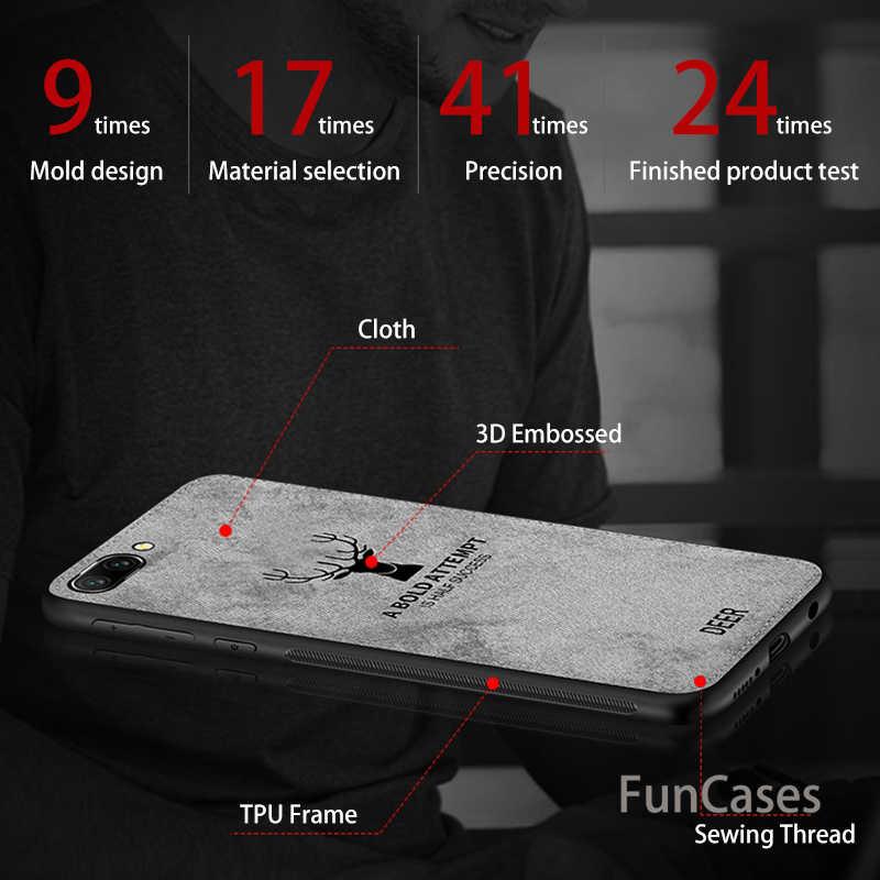 ケース P スマート名誉 7x p20 プロエンボステクスチャ布鹿 Huawei 社 Psmart 1080p 20 プロキャンバス Tpu ソフトエッジ Coque