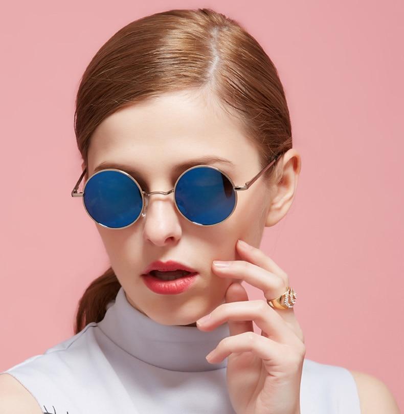 2018 Steampunk Round Sunglasses Men Women Anti-UV Polarized Metal Frame hot rayeds Retro Sun Glasses Mirror gafas de sol