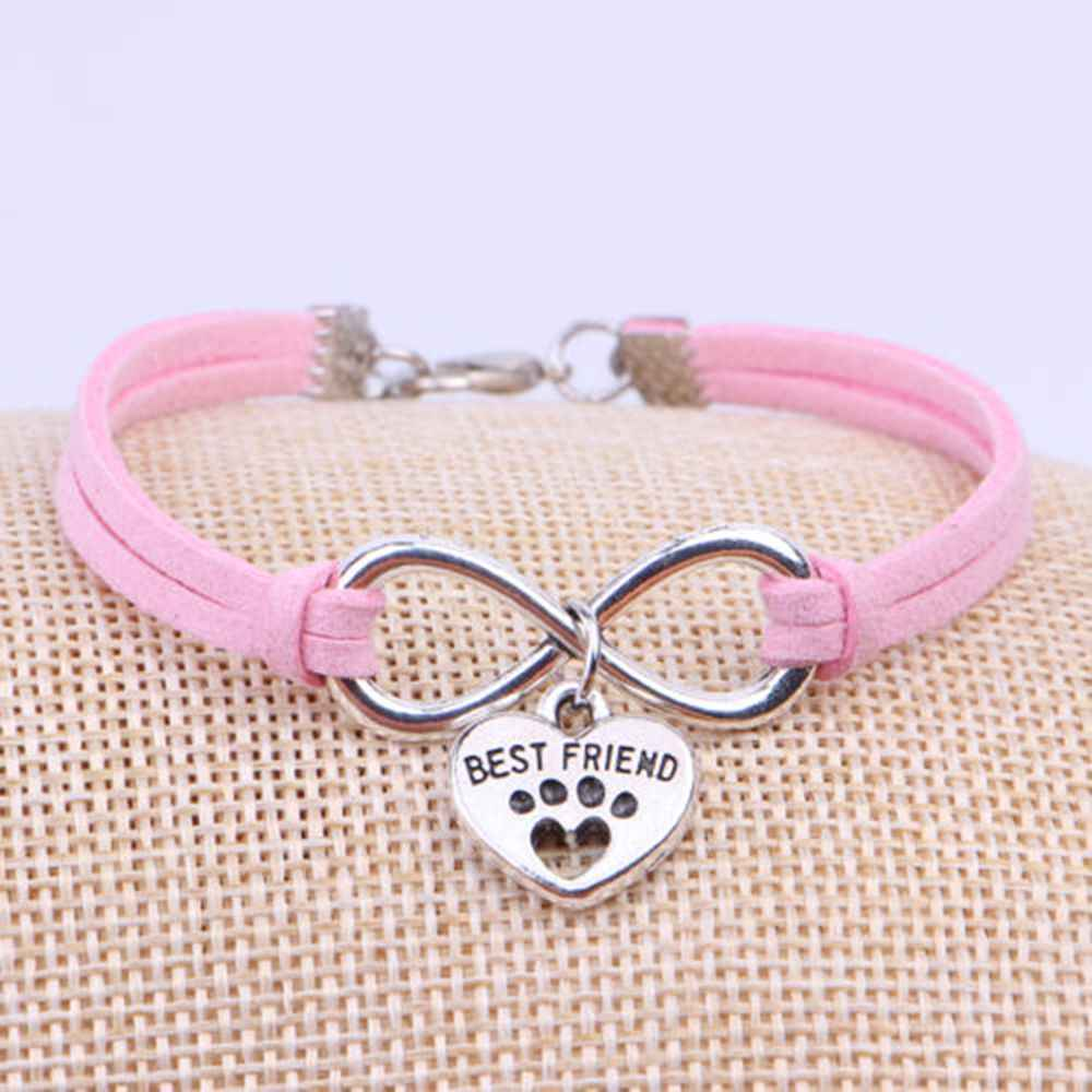 OPPOHERE Hot Sale Dogs Cat Claw Charms Pendant Velvet Leather Bracelets For Women Gift Bangles Jewelry Accessories Dropshipping