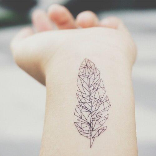 34cb6f271beaf Waterproof Temporary Fake Tattoo Stickers Grey Geometric Leaf Vintage  Design Body Art Make Up Tools