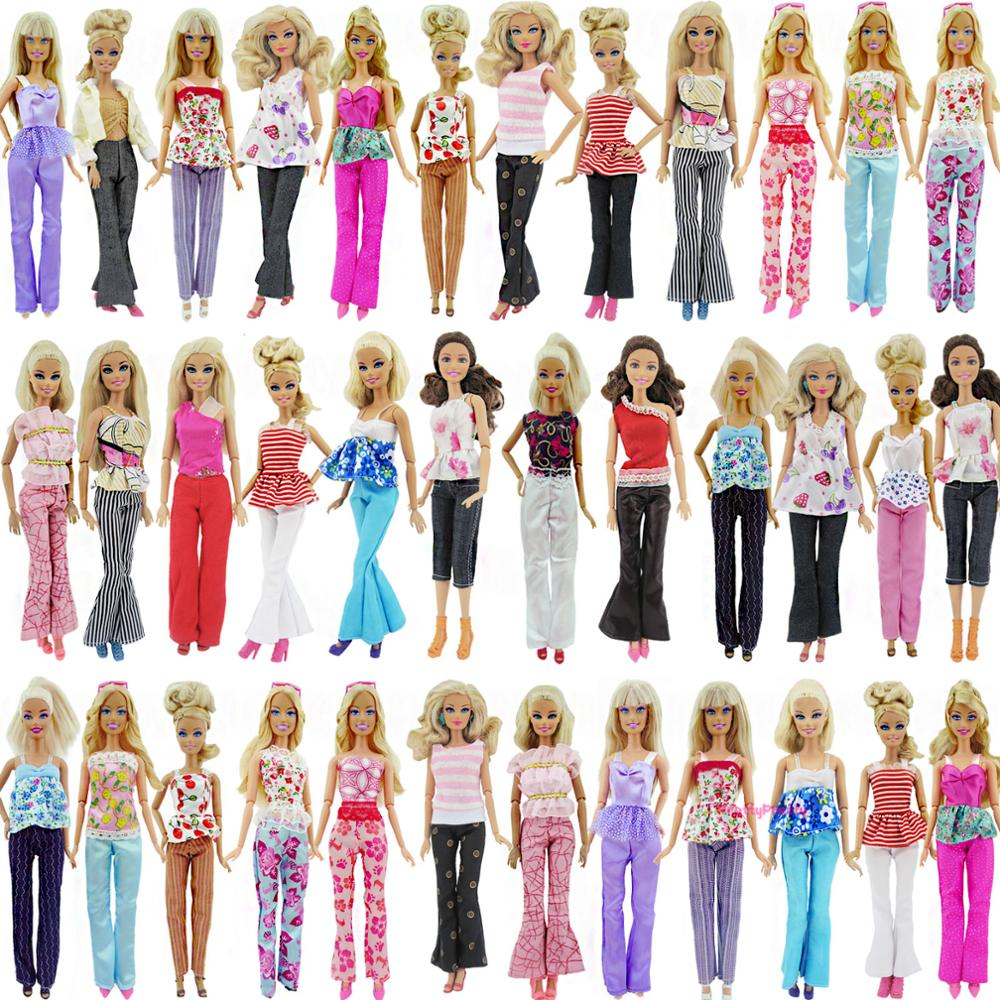 5 Random Handmade Fashion Lady Daily Wear Pant Blouse & Trousers Capris Outfit Clothes For Barbie Doll Accessories Kid Baby Toys