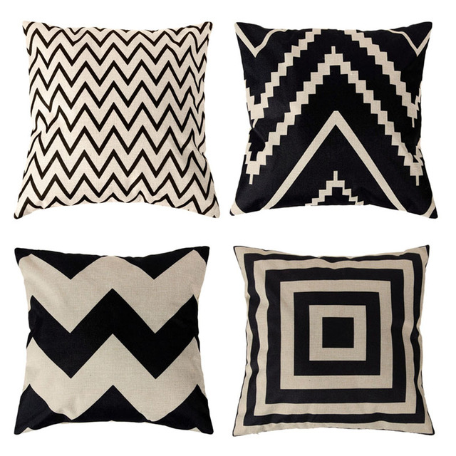 45*45cm Linen Cotton Geometric Pillow Covers for Home Bed Sofa Seat Decorative Throw Pillowcases Square Cushion Cover