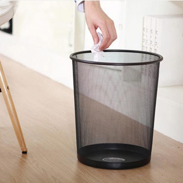 Merveilleux Metal Mesh Wastebasket Round Trash Can Recycling Bin Office Tools Supplies  Durable