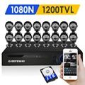DEFEWAY 16CH 720P AHD DVR KIT 16PCS Bullet  AHD Camera1.0MP Outdoor 24Leds IR Night vision Security System Surveillance Kit 2TB
