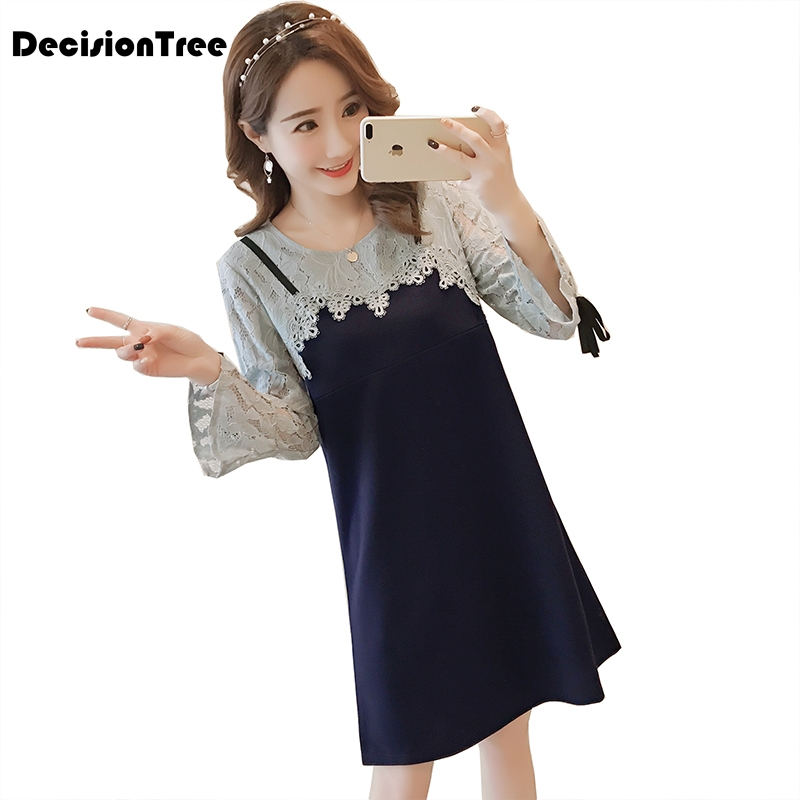 deb1d73b6641 2019 new cute lace casual maternity dresses leisure pregnancy gown crochet  lace chiffon lace flare sleeve tunic for pregnant-in Dresses from Mother &  Kids ...