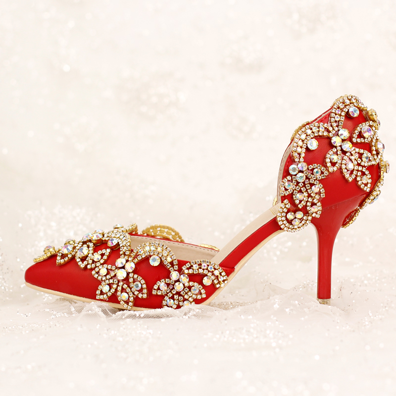 Red bridal shoes high heels crystal ultra thin heels shoes shallow mouth summer wedding shoes women's shoes sandals new arrival