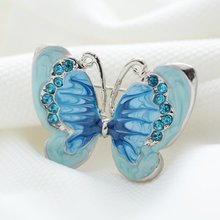 Beautiful bule Butterfly Small Insect Brooch Pins Silver Plated Crystal Brooches Women Decoration  Jewelry Clothes Accessories