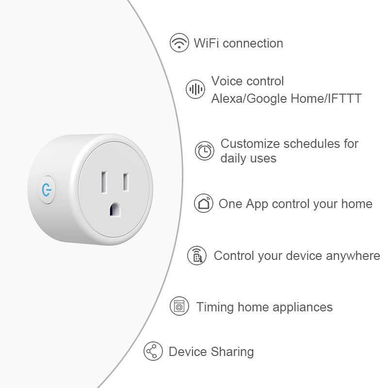 Bezprzewodowy inteligentny telefon App zdalne sterowanie głosem gniazdo zasilania WiFi inteligentny Timer wtyczka wtyczka usa Alexa inteligentnego domu Ios/ z systemem android