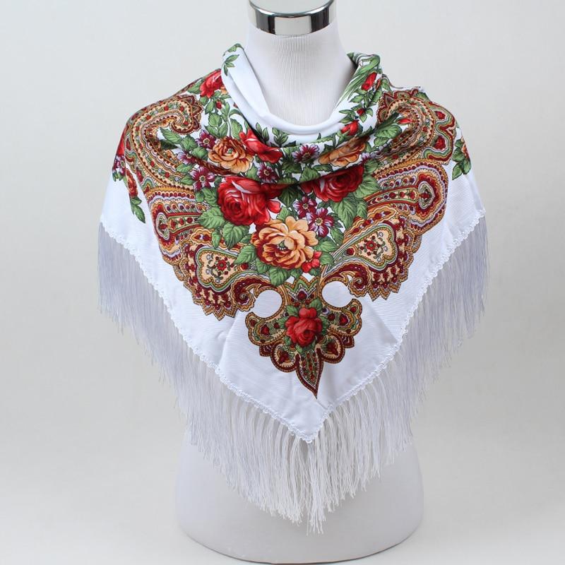 Sıcak satış yeni moda kadın Eşarp kare atkılar uzun püskül - Elbise aksesuarları - Fotoğraf 3