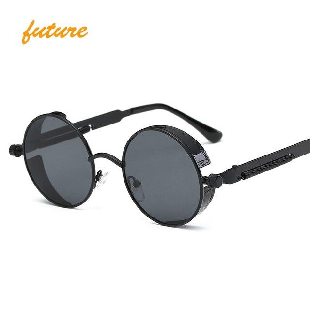 Gothique Steampunk Hommes femmes lunettes de Soleil Revêtement Miroir Lunettes de Soleil Ronde Cercle Soleil lunettes oculos Vintage Gafas Masculino Sol
