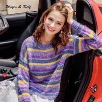 Weyes & Kelf Autunm Rainbow Striped Wool Sweater Women 2018 Sweet Long Sleeve Knitted Pullover Womens Knitwear