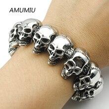 AMUMIU 2017 New Cool Punk punk skull Bracelet for Man 316 Stainless Steel Man's High Quality Heavy Fashion Biker jewelry HZB041