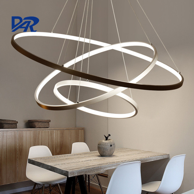 Modern led pendant light cretaive diy 1 2 3 circle rings for Luminaire suspendu moderne
