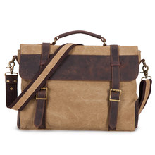 CURIELINE New custom canvas shoulder bag European and American retro leisure crazy horse leather satchel briefcase