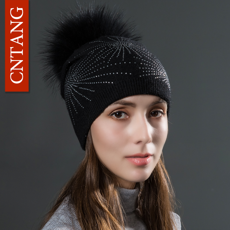 CNTANG 2017 Rhinestone Knitted Wool Hats With Natural Raccoon Fur Pom Pom Caps Autumn Winter Warm Hat For Women Fashion Beanies 2017 women winter knitted hats beanies caps raccoon fur ball pom pom hat warm hats for females fashion casquette touca inverno