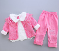 Free Shipping 2017 Spring Autumn Baby Girls 3 Pcs Sets Kids Newborn White Lace T Shirt