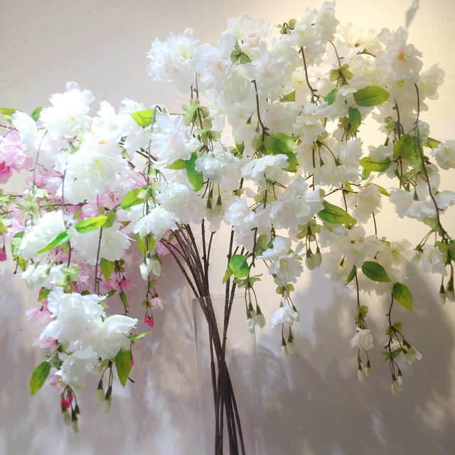 Online Shop 4 Forks Vertical Silk Cherry blossom bud Pear Artificial ...