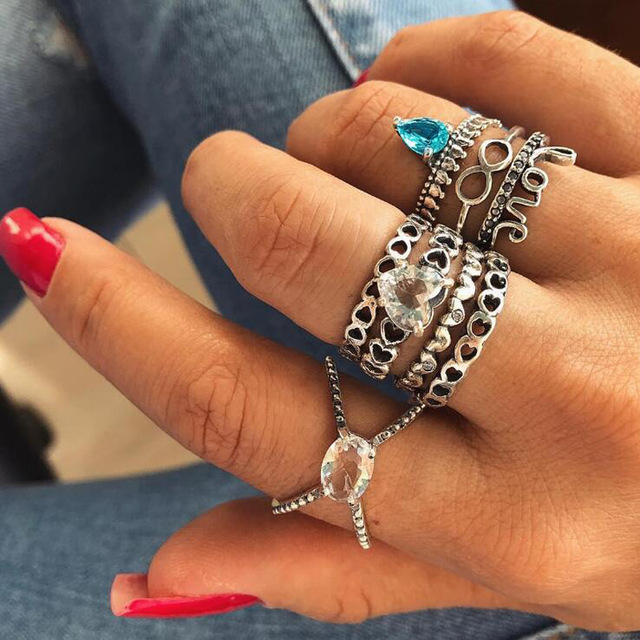 HuaTang Bohemian Antique Silver Ring Geometric Elephant Flower Green Rhinestone Knuckle Rings Midi Finger Anel Rings Jewelry 76