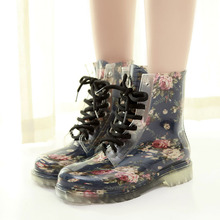 Waterproof Womens Boots Transparent Rubber Rain High Help Non-slip Wear-resistant Candy Color