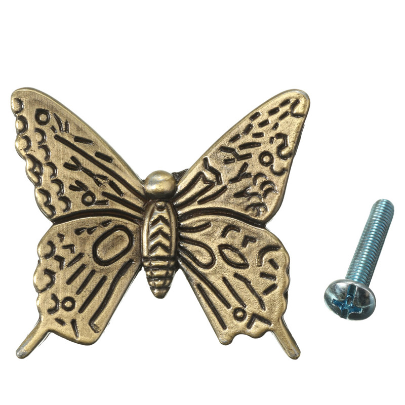 MTGATHER Zinc Alloy Vintage Bronze Butterfly Handle Cabinet Drawer Cupboard Wardrobe Door 2 Size S/L Simple And Plain Design