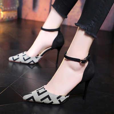 Una Con Señaló Mujer Nuevo Francés Salvajes Zapatos Sandalias Verano Hebilla Tacones Estilo Baotou 2019 Aguja De FKJcuT15l3