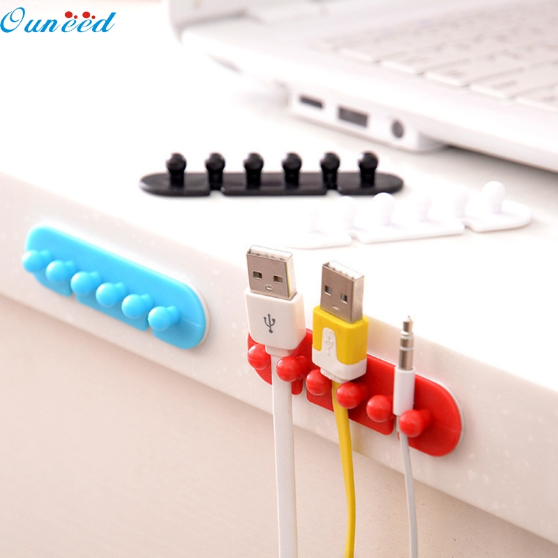 Ouneed Happy Home 2X Wire Cord Clip Cable Line Holder Tie Fixer Organizer Drop Adhesive Clamp 1 Piece