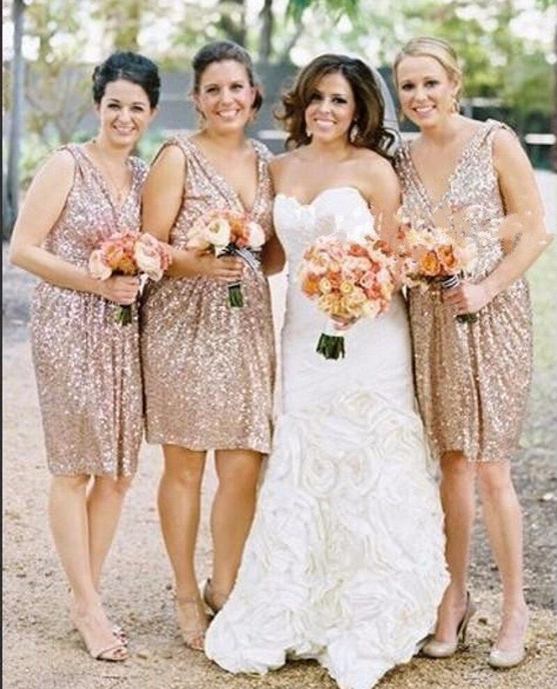 Popular V Neck Sequin Bridesmaid Dress Champagne Gold-Buy Cheap V ...