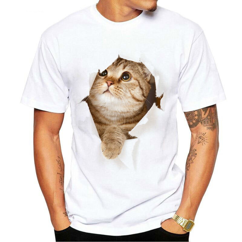New Arrival Summer Short Sleeves Tops Cartoon Cat Parent-child men funny tshirt T-shirt 3d t tee shirt homme fashion tshirts