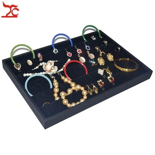 Black Velvet Earring Display Case Portable Wooden Stud Ring Holder Organizer Storage Showcase Exhibition Tray