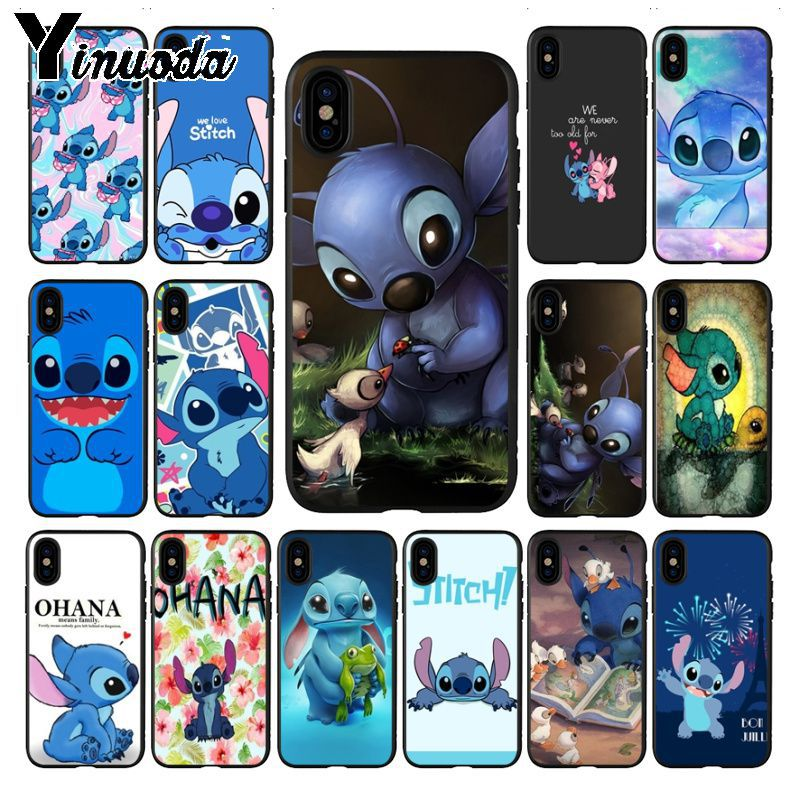 Yinuoda cute lovely Stitch Ohana Coque Shell Phone accessories Case for iPhone 6S 6plus 7 7plus 8 8Plus X Xs MAX 5 5S XR