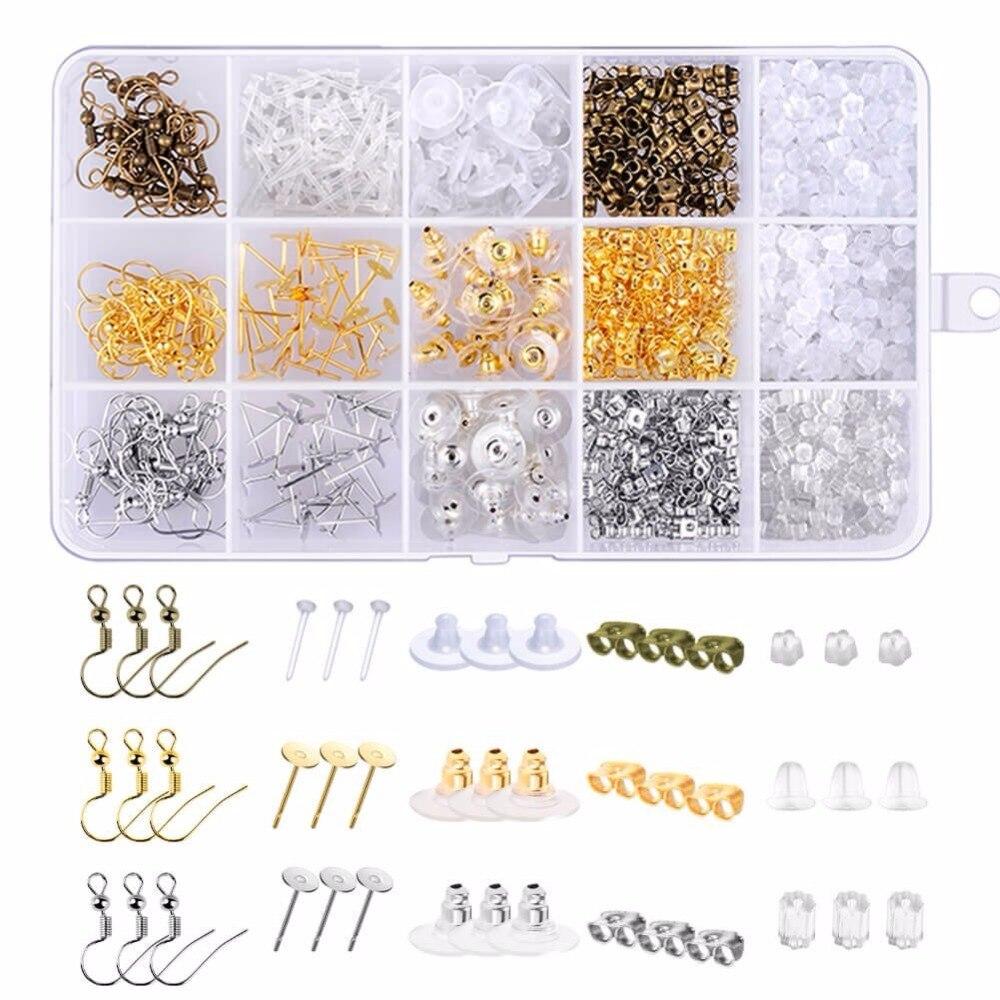 1200 pçs/caixa Brinco Conjunto Kit de 15 Estilo Brinco Costas Descobertas Brinco Ganchos Studs Mensagens para a Tomada de Brinco