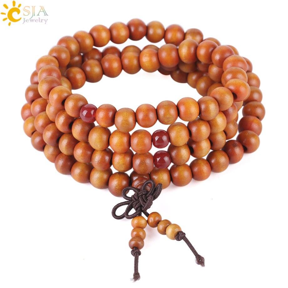 CSJA 108 Mala Beads 8 mm Wooden Bead Bracelet Religious Buddhist Buddha Meditation Multi-layer Orange Color Bangle Jewelry S034