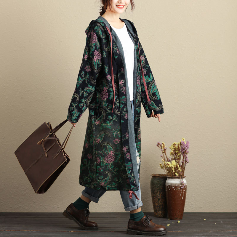 Women Autumn Hooded Long   Trench   Coat Outwear 2018 New Spring Ladies Plus Size Print Floral Cardigans Tapestry Style Streetwear