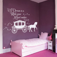 A Dreams is A Wish Your Heart Makes Girl Bedroom Wall Decal Cinderella Wall Decal Kid Room Decor 94cm x 147.3cm
