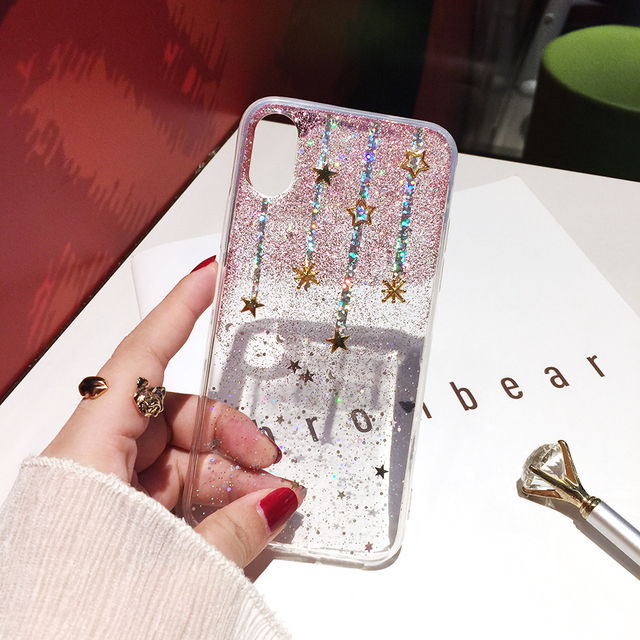 Qianliyao For iphone xs max xr case Glitter Meteor Star Phone Cases For iphone 6 6s 7 8 plus X silicone transparent soft cover