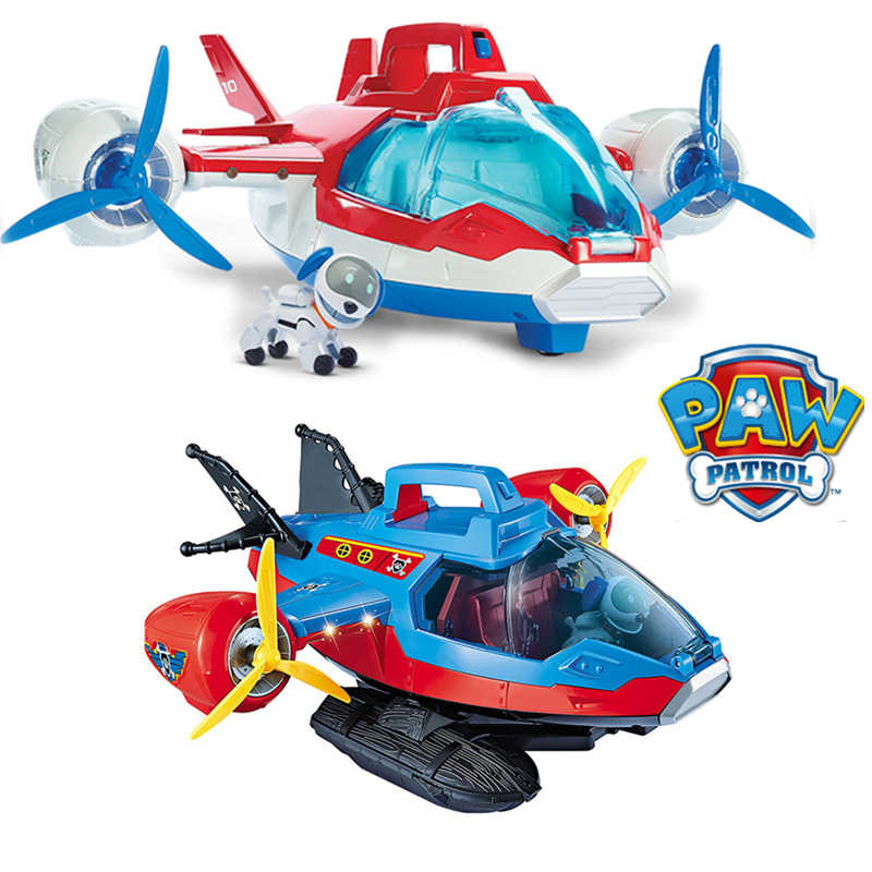 Paw Patrol Dog Toys Rescue Patrol Aircraft Yacht Load Captain Robot Dog Sound Effect Plane Patrulla Canina Action Figures Gift