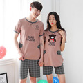 Free shipping 2016 New Lover Pajamas Set Summer Short Sleeved Women Pijamas Men Pajamas Sleepwear Suit Adult Pijama Korea style