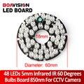 48 Светодиодов 5 мм Инфракрасный ИК 60 Градусов Лампы CCTV Led Board 850nm Для Камер Видеонаблюдения
