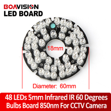 48 LEDs 5mm Infrared IR 60 Degrees Bulbs CCTV Led Board 850nm For Security Surveillance Cameras