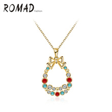 2017 ROMAD hot Hot hot Bohemia necklace Water Drop color Austrian crystal necklace pendant jewelry fashion woman's necklace